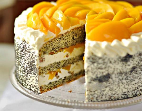 Бисквитный торт консервированными персиками рецепт